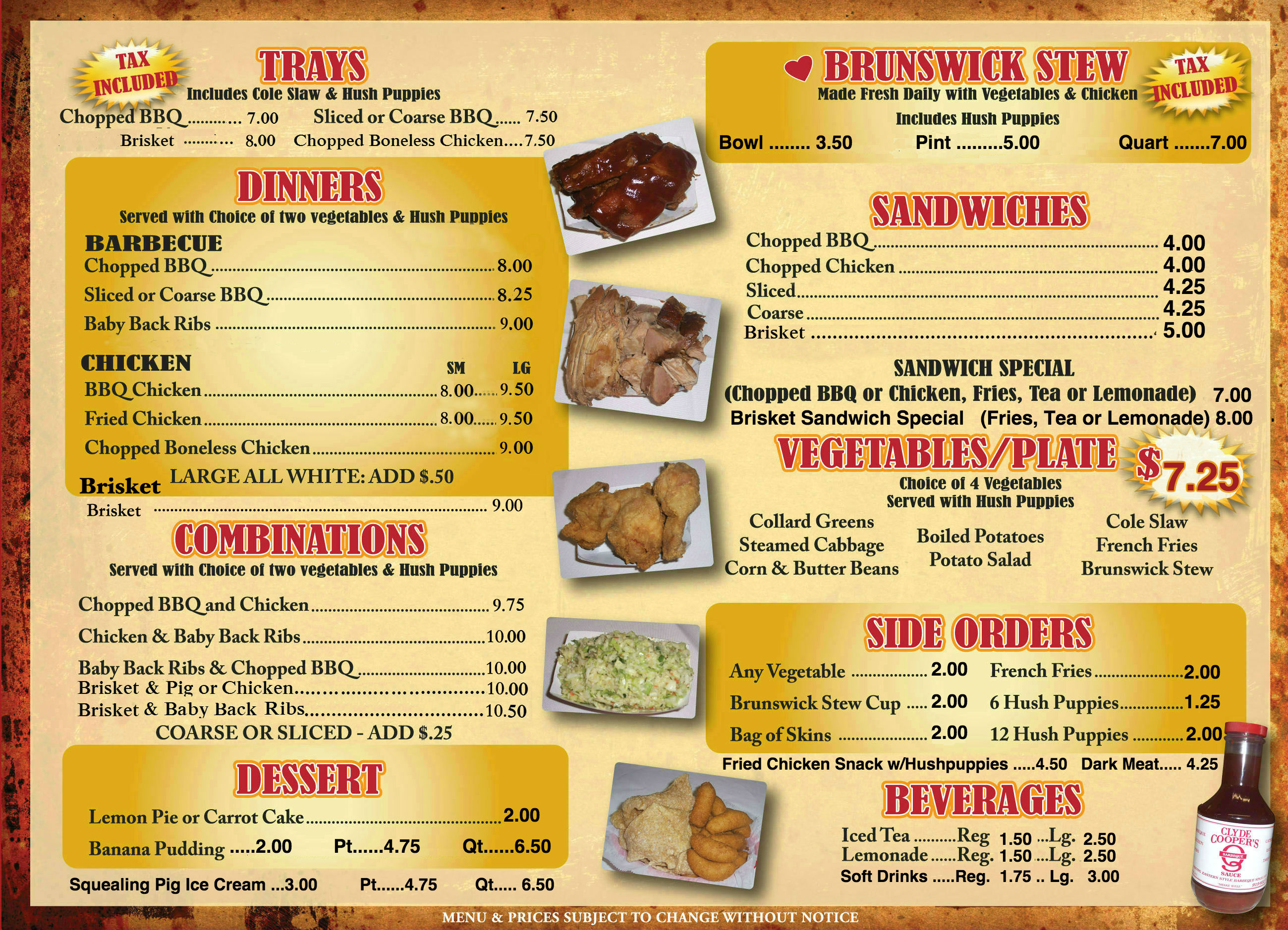 Coopers Bbq Menu 6 Newest Clyde Cooper S Bbq