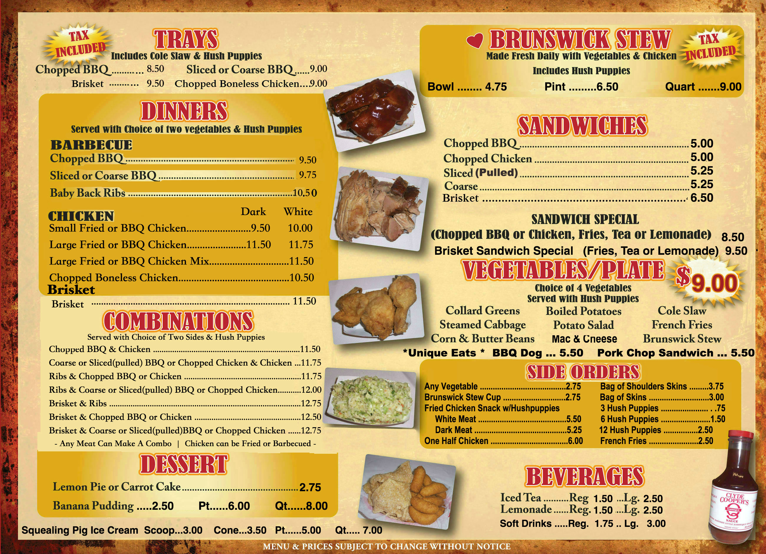 Coopers Bbq Menu 7 Newest Clyde Cooper S Bbq