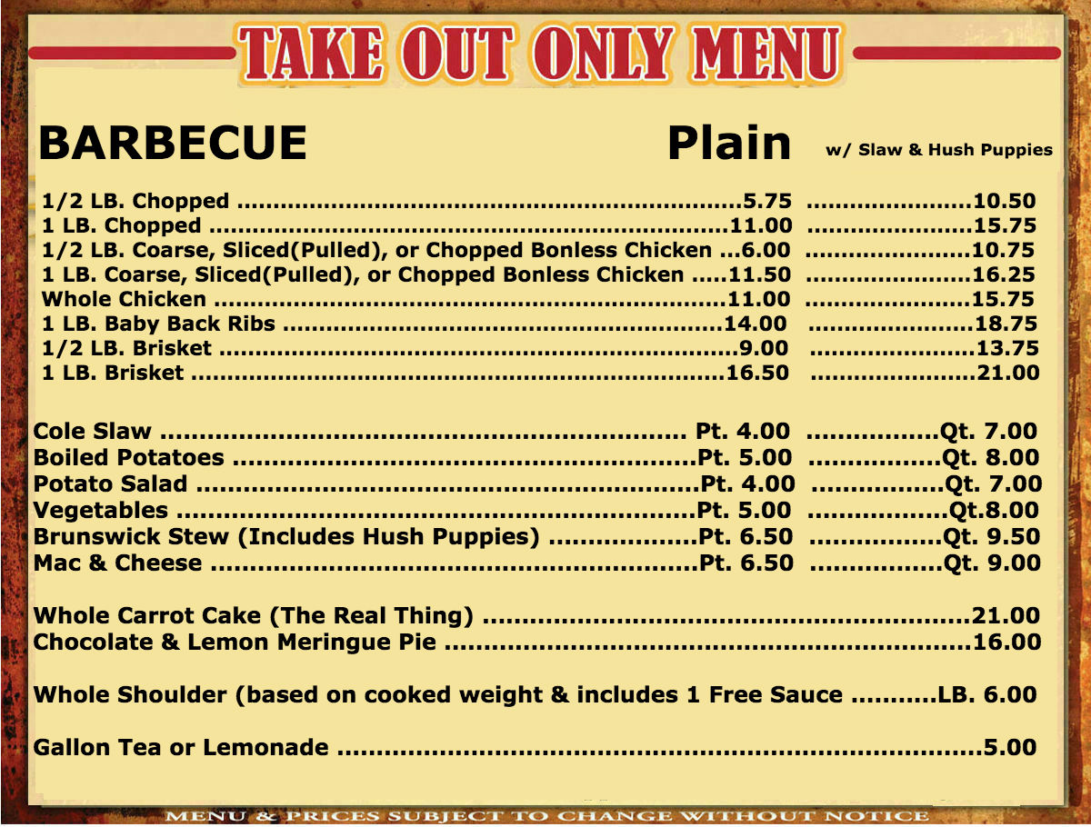 Take out menu newest 4 clyde cooper 39 s bbq for Take out menu