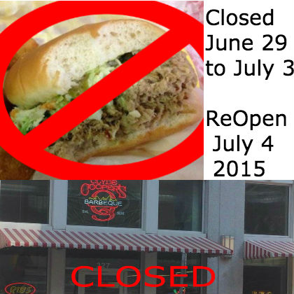 Closed june29 to july 3
