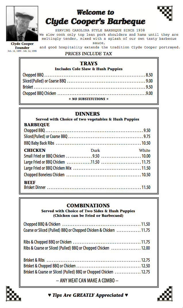 Coopers Menu Page 1 Newest 11-9-17