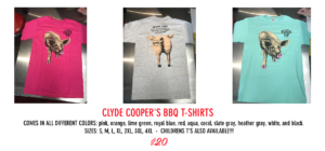 clyde cooper's bbq t-shirts