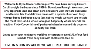 Clyde coopers bbq history